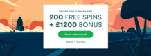 1200 GBP and 200 free spins at Casumo