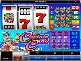 Play free Captain Cash slot by Microgaming