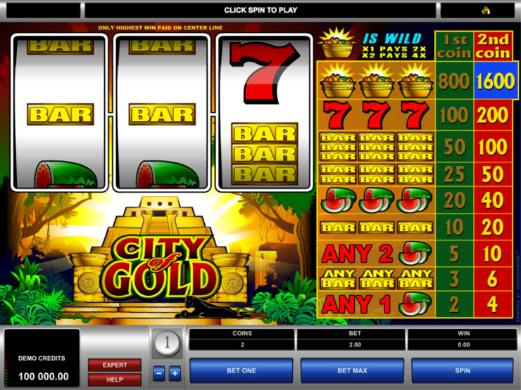 Play free City of Gold slot by Microgaming