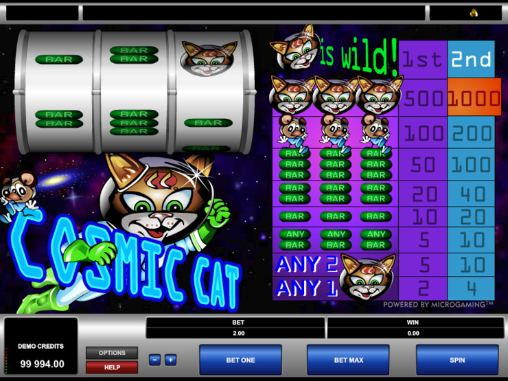 Play free Cosmic Cat slot by Microgaming