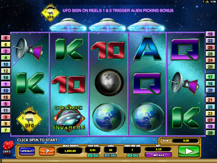 Play free Cosmic Invaders slot by Microgaming