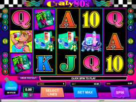 Play free Crazy 80s slot by Microgaming