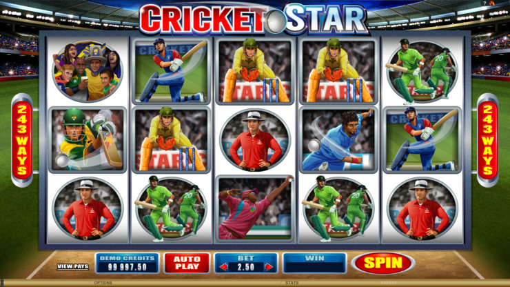 Play free Cricket Star slot by Microgaming