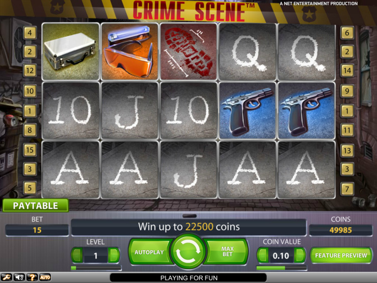 Play free Crime Scene slot by NetEnt