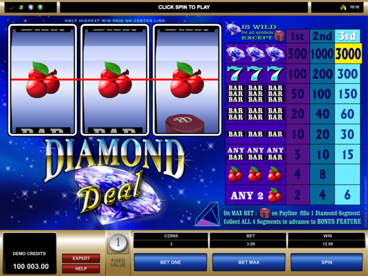 Play free Diamond Deal slot by Microgaming