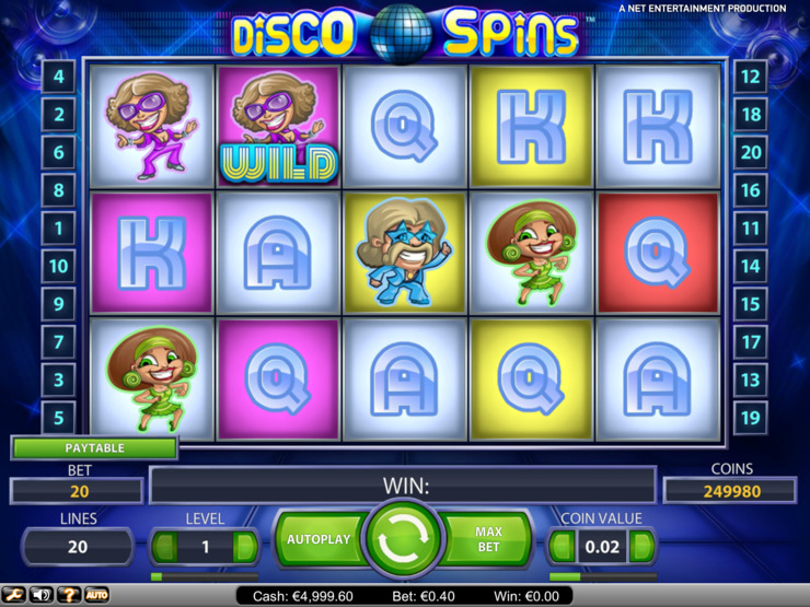 Play free Disco Spins slot by NetEnt
