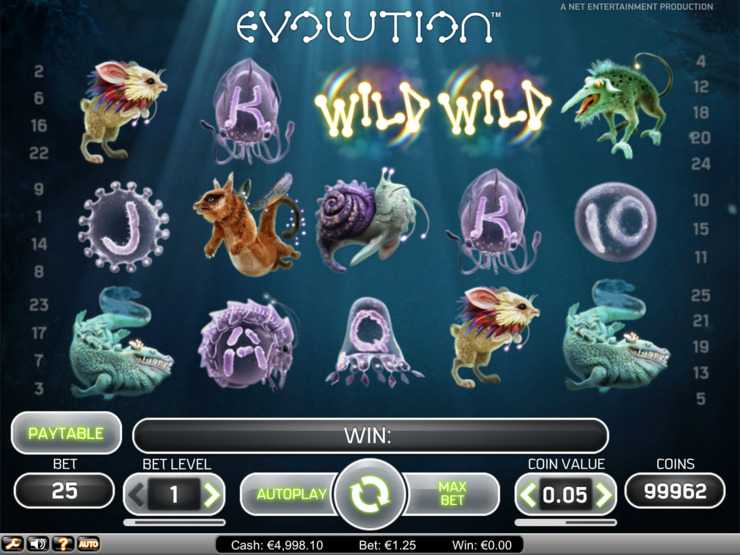 Play free Evolution slot by NetEnt