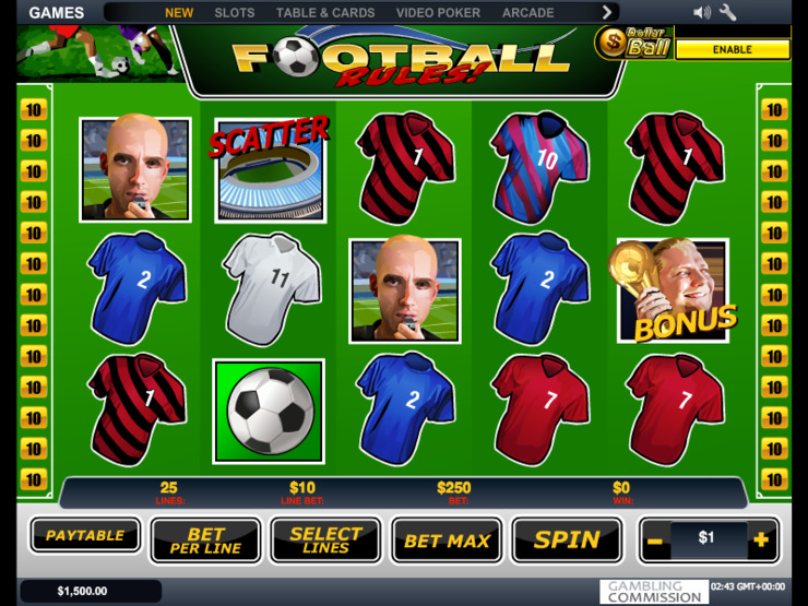 Play free Football Rules slot by Microgaming