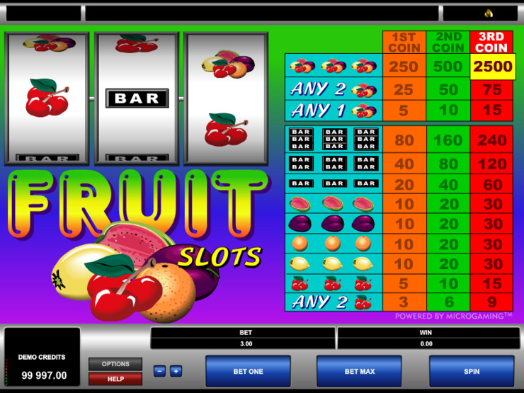 Play free Fruit Slots slot by Microgaming
