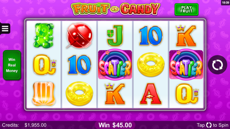 Play free Fruit vs Candy slot by Microgaming