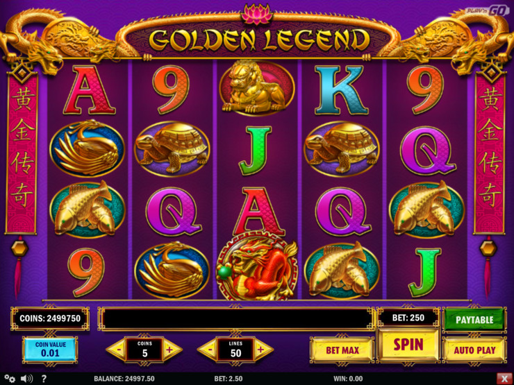 Play free Golden Legend slot by Play'n GO