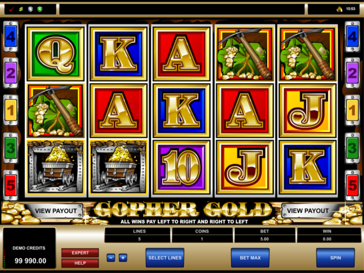 Play free Gopher Gold slot by Microgaming