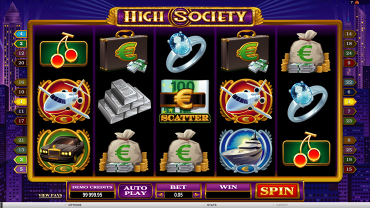 Play free High Society slot by Microgaming