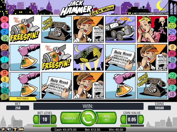 Play free Jack Hammer slot by NetEnt