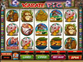 Play free Karate Pig slot by Microgaming