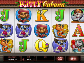 Play free Kitty Cabana slot by Microgaming