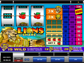 Play free Lions Share slot by Microgaming