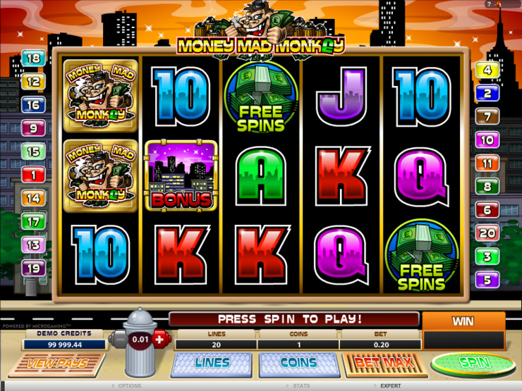 Play free Money Mad Monkey slot by Microgaming