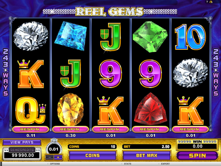 Play free Reel Gems slot by Microgaming