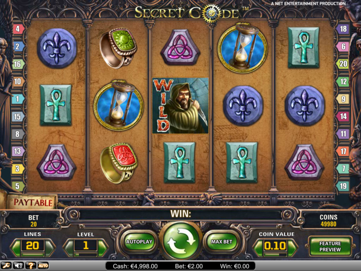 Play free Secret Code slot by NetEnt