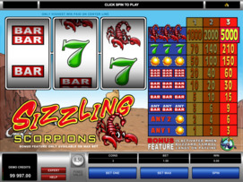 Play free Sizzling Scorpions slot by Microgaming