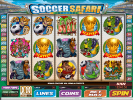Play free Soccer Safari slot by Microgaming