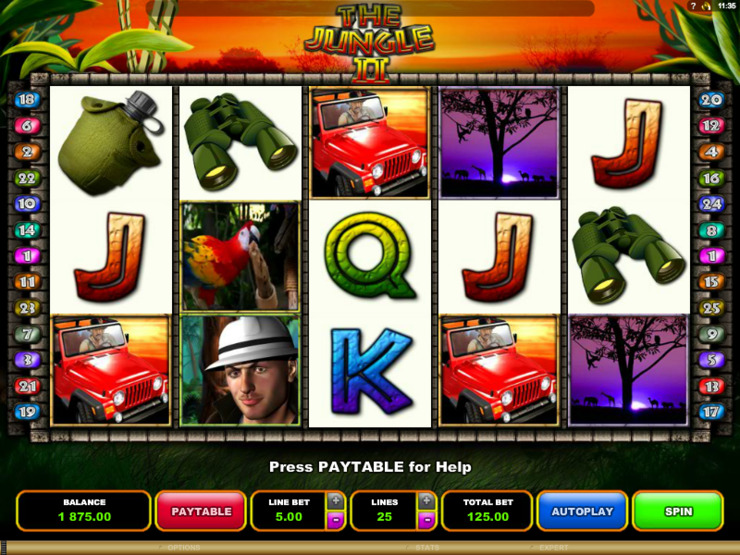 Play free The Jungle II slot by Microgaming