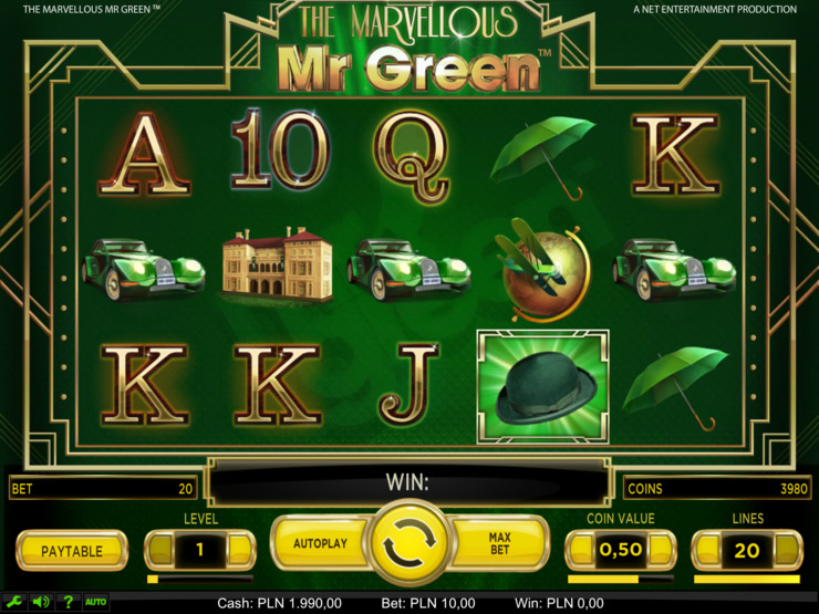 Play free The Marvellous Mr Green slot by NetEnt