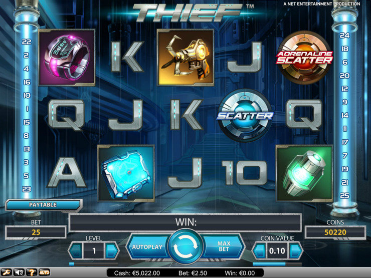 Play free Thief slot by NetEnt