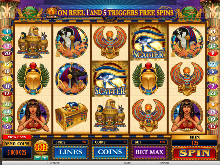 Play free Throne of Egypt slot by Microgaming
