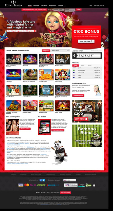 Royal Panda Online Casino Homepage